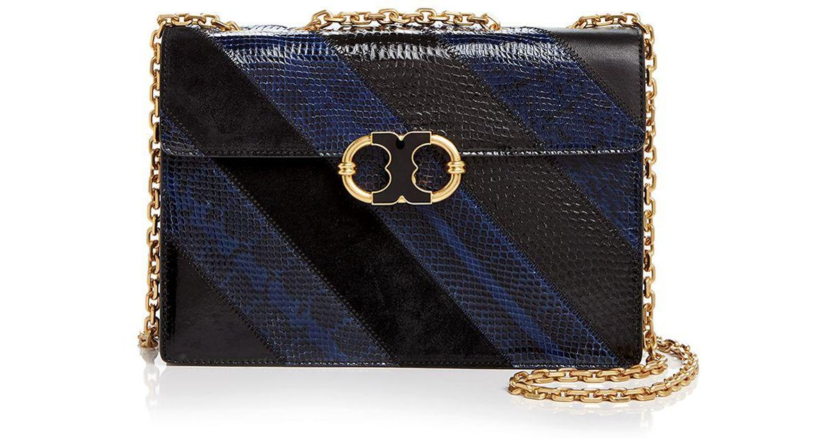 9680844cd12a Lyst - Tory Burch Gemini Link Chain Snake-embossed Leather Shoulder Bag in  Black