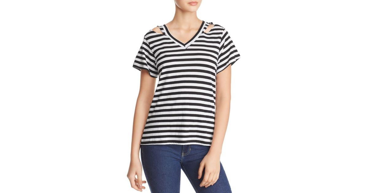 ad4a1bb2d4 Lyst - LNA Iceland Cutout Striped Tee in Black