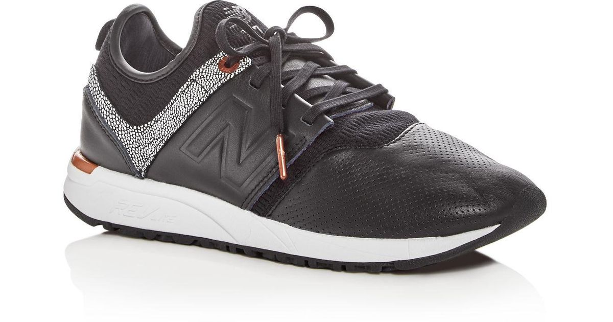 d2080565aaf3f New Balance Women's 247 Leather Lace Up Sneakers in Black - Lyst