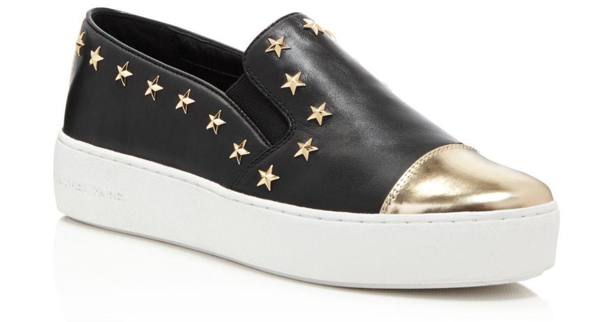 5ba067d8d3d Michael Michael Kors Women s Tia Cap Toe Slip-on Sneakers in Black - Lyst