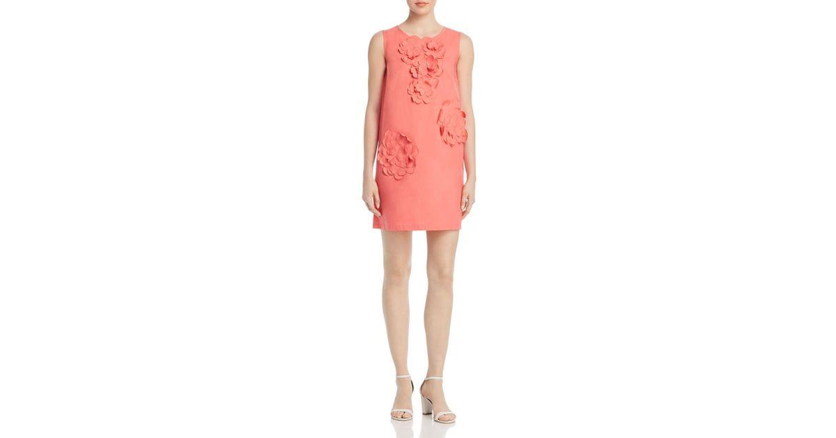 Lyst paule ka poplin floral appliqué cotton mini dress in pink