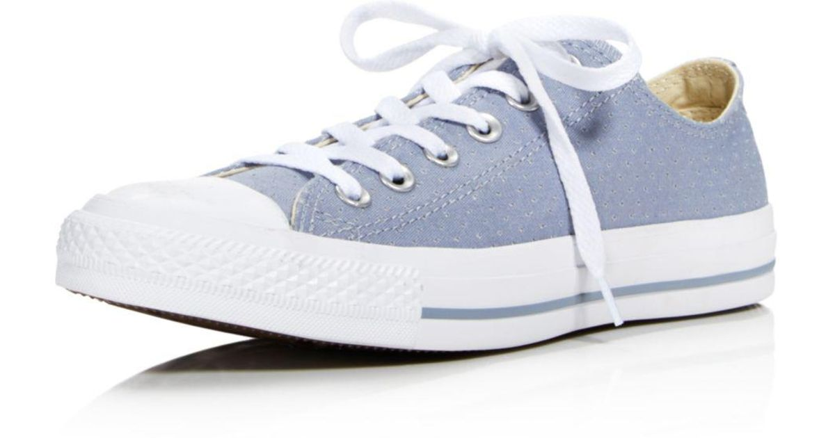 2abfbeef048d Converse Women s Chuck Taylor All Star Ox Perforated Canvas Low Top Lace Up  Sneakers in Blue - Lyst
