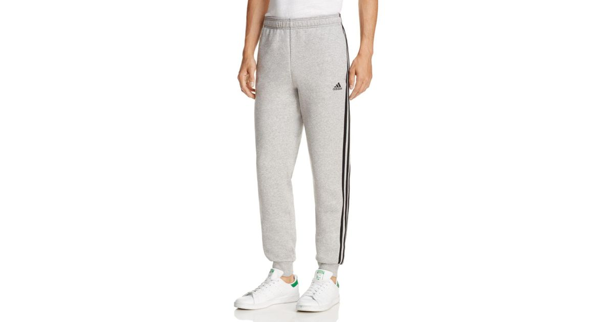 Adidas Originals Gray Essentials 3 stripe Jogger Sweatpants for men