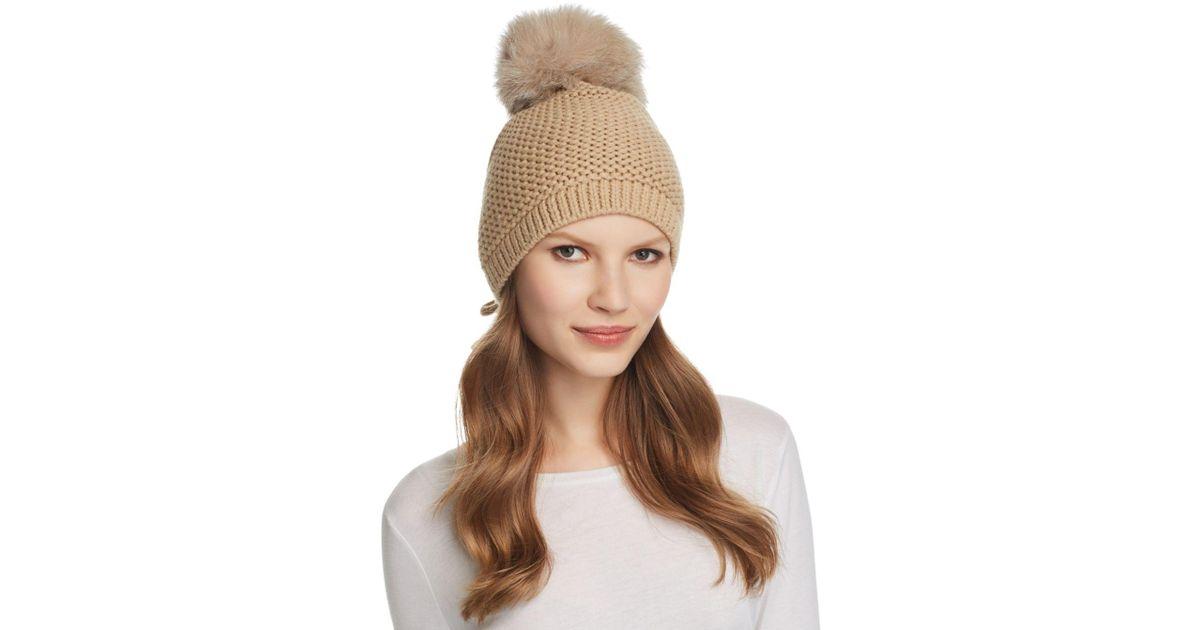 0e1e36b0c61388 Kyi Kyi Slouchy Hat With Fox Fur Pom - Pom in Brown - Lyst