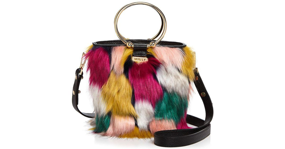 5e31bda5aa3 Lyst - MILLY Drawstring Faux-fur Bucket Bag