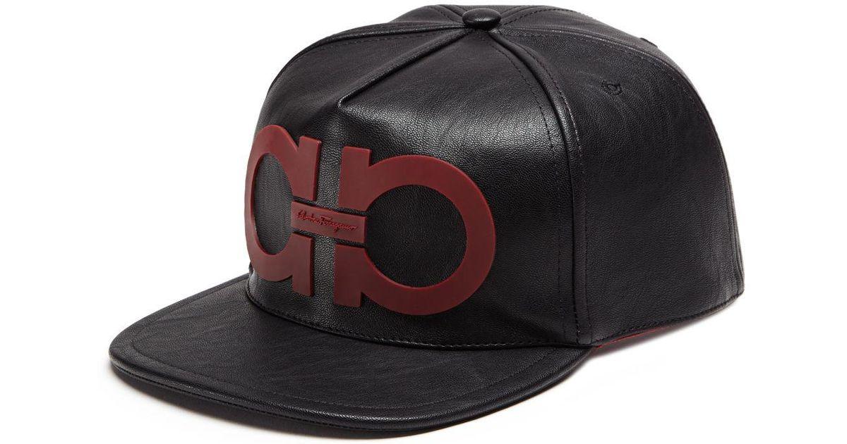 Ferragamo Gancini Vegan Leather Cap in Black for Men - Lyst 046acd31e93d