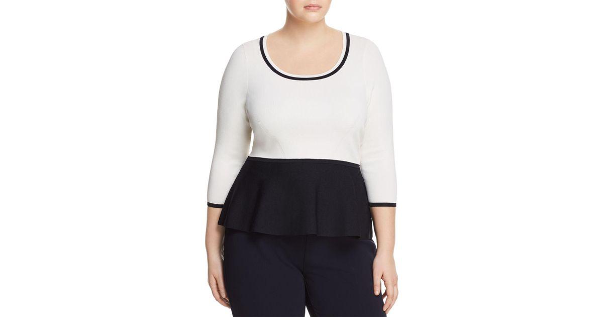 Peplum Marina Adri Sweater Color Rinaldi Blocked Lyst In White X7wdEK