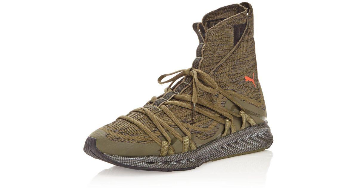 8e93fa1d5a6 Lyst - PUMA Men s Ignite Evoknit Fold High Top Sneakers in Green for Men