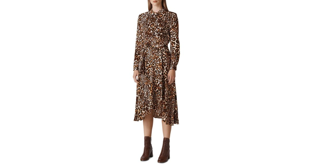 fe7af4cb70d Lyst - Whistles Esme Leopard Shirt Dress in Brown - Save 70%