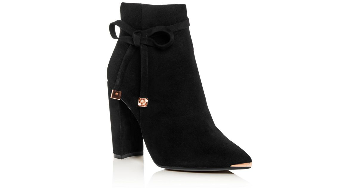 e00a6c4953f4 Lyst - Ted Baker Women s Qatena Suede Pointed Toe High-heel Booties in Black