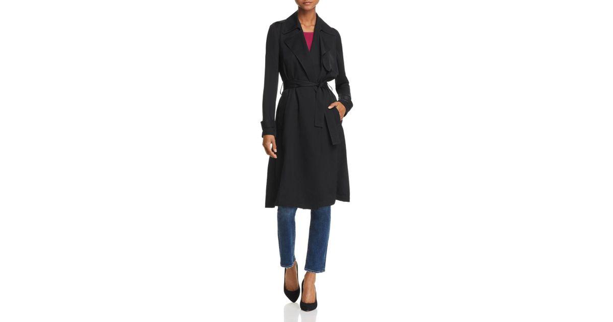 2cb3c3cc8d Theory Oaklane Silk Trench Coat in Black - Lyst