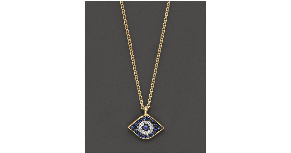 Lyst meira t sapphire and 14k yellow gold evil eye pendant lyst meira t sapphire and 14k yellow gold evil eye pendant necklace in blue aloadofball Choice Image