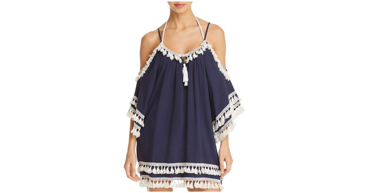 80f21b6b0095e Lyst - Surf Gypsy Cold-shoulder Tunic Swim Cover-up in Blue