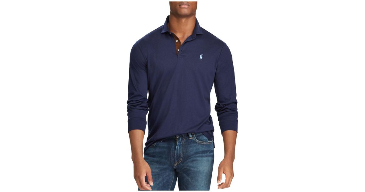 a75182f6 Polo Ralph Lauren Classic Fit Soft-touch Long Sleeve Polo Shirt in Blue for  Men - Lyst