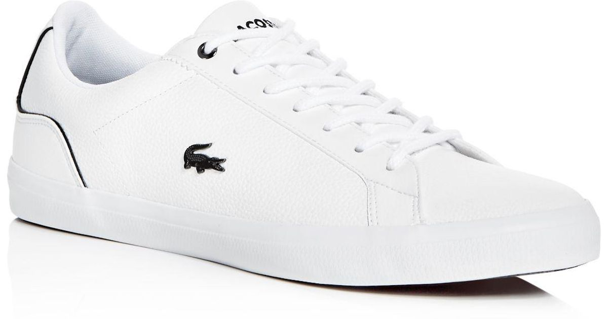 b2dcca733 Lyst - Lacoste Men s Lerond Leather Lace Up Sneakers in White for Men