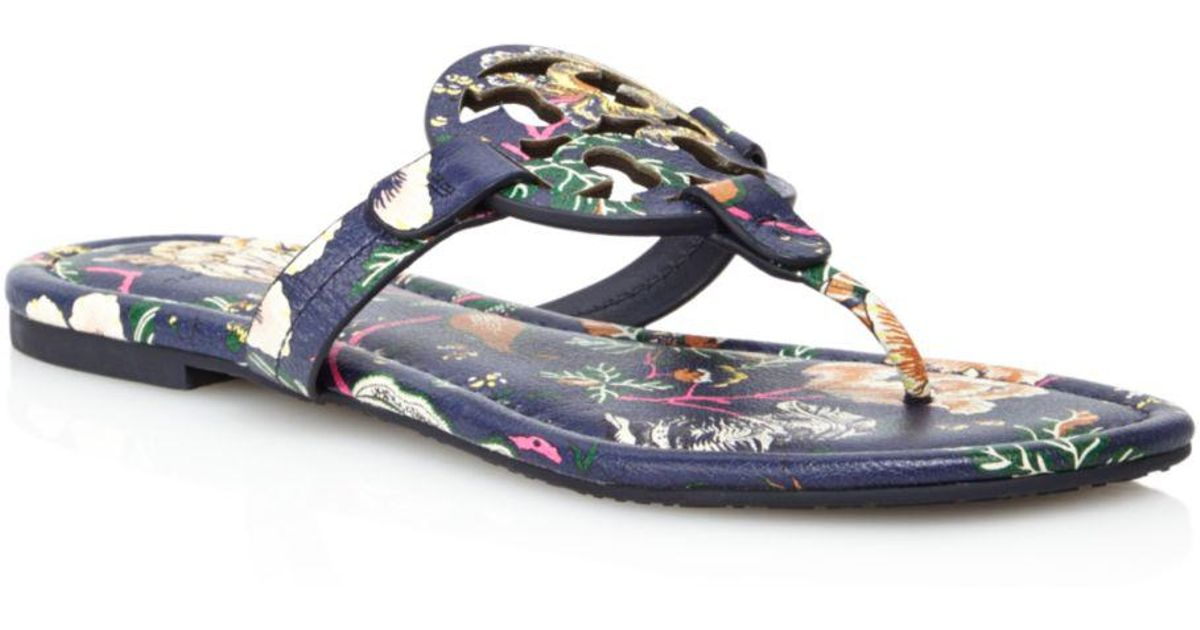 5dd5255756ea Lyst - Tory Burch Women s Miller Floral Leather Thong Sandals in Blue