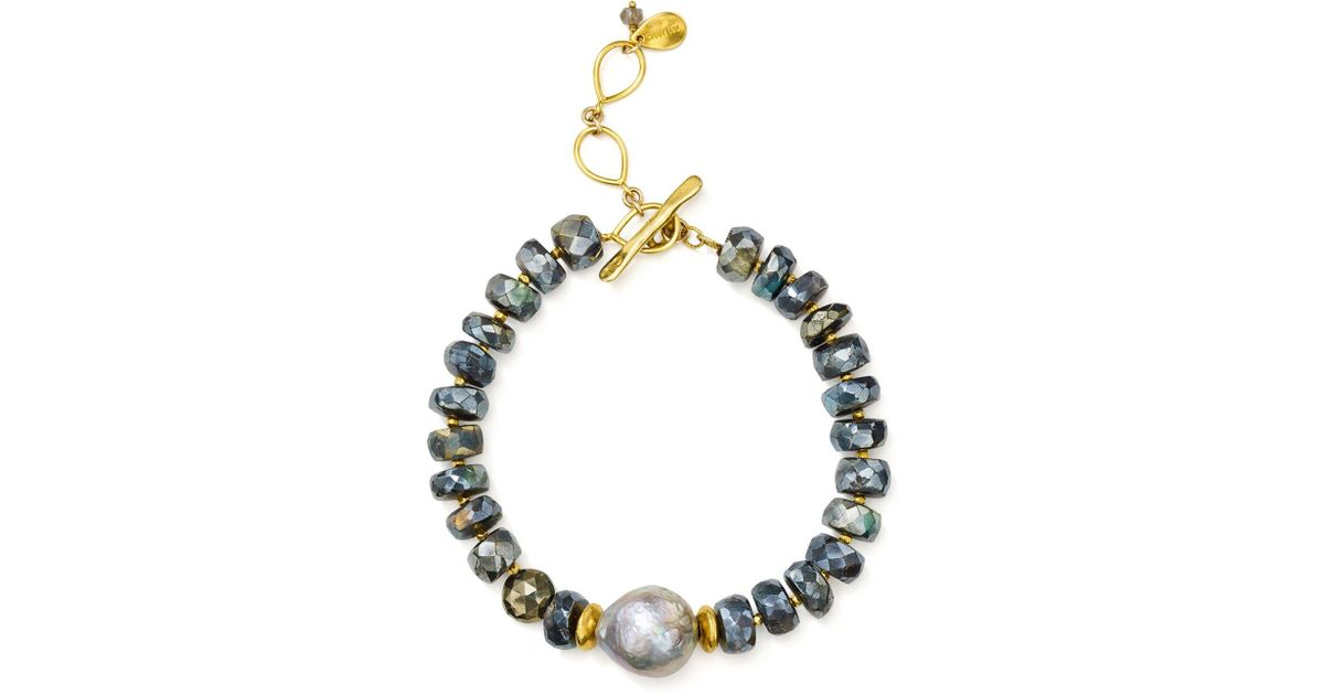 7500c0d5485dc Chan Luu - Metallic Beaded Stone & Cultured Freshwater Pearl Toggle  Bracelet In 18k Gold-plated Sterling Silver & Sterling Silver - Lyst