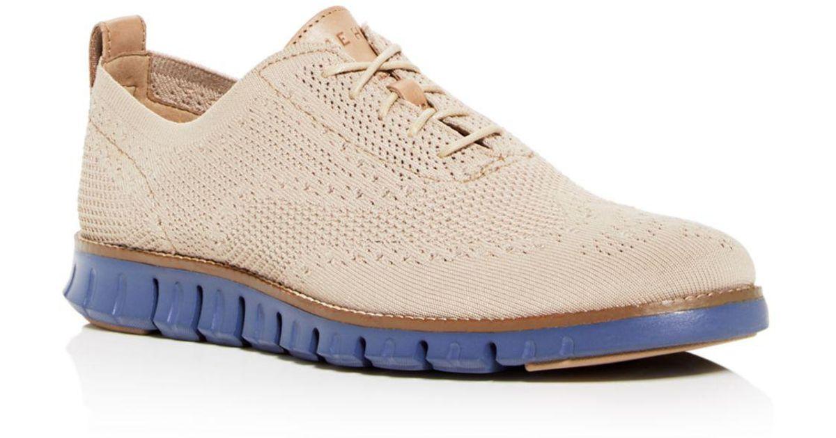 b7257c26f38 Lyst - Cole Haan Men s Zerogrand Stitchlite Knit Plain Toe Oxfords in  Natural for Men