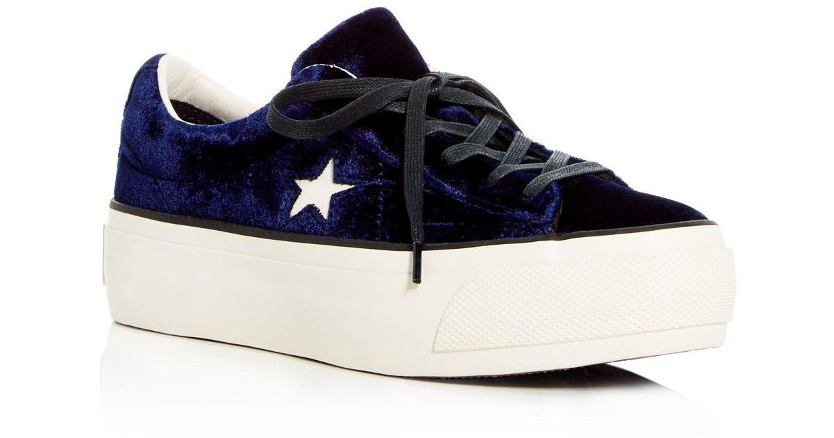 b60bc0803136 Lyst - Converse Women s One Star Velvet Lace Up Platform Sneakers