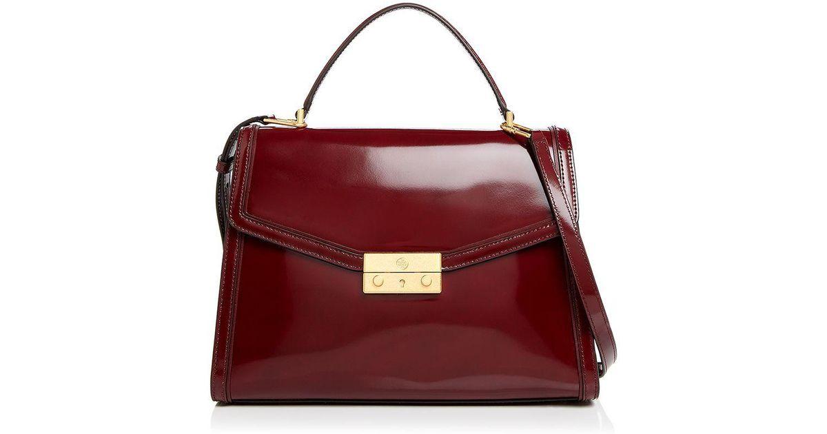 e04e0584c003 Lyst - Tory Burch Juliette Top Handle Patent Leather Satchel