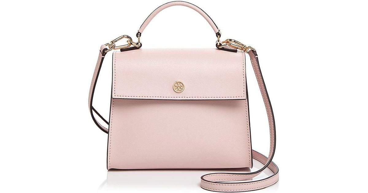 405c17407d97 ... discount tory burch parker small leather satchel in pink lyst 69e5e  444fe