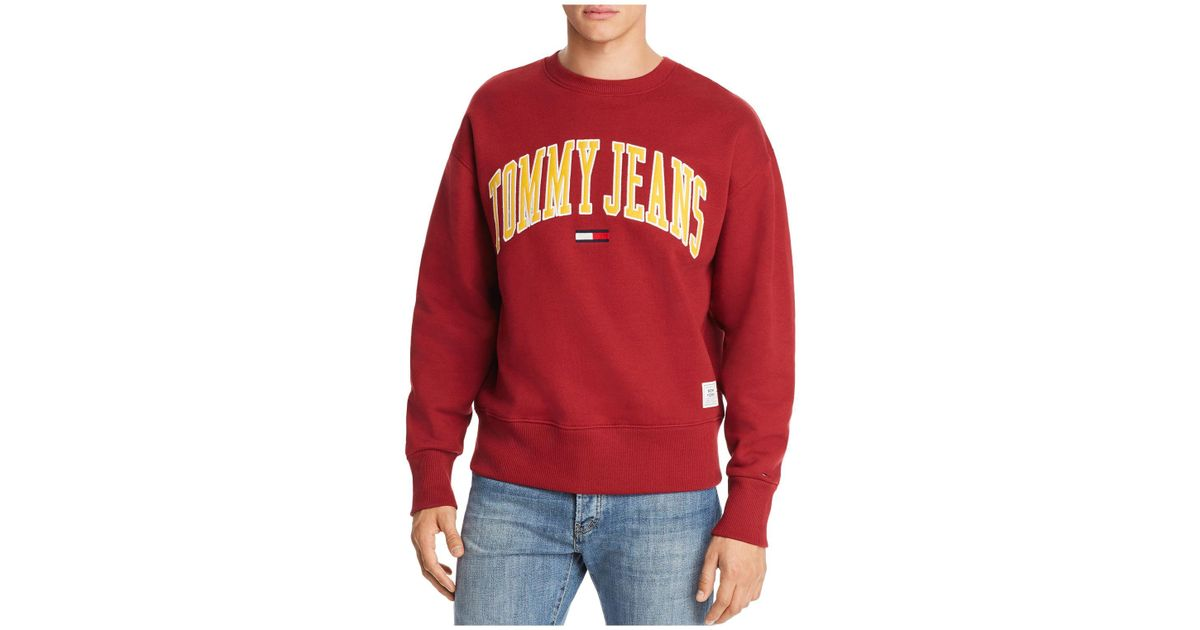 3c7e2d9a Tommy Hilfiger Tommy Jeans Collegiate Crewneck Sweatshirt in Red for Men -  Lyst