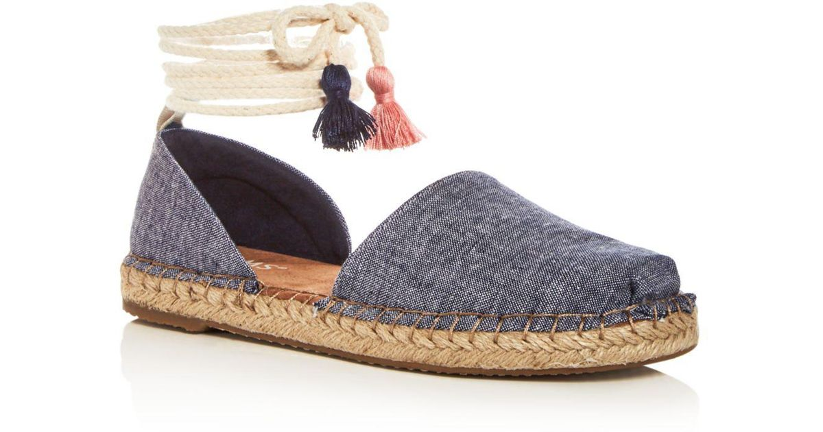 3c10b2aa790 TOMS Women s Katalina Chambray Ankle Tie D orsay Espadrille Flats in Blue -  Lyst