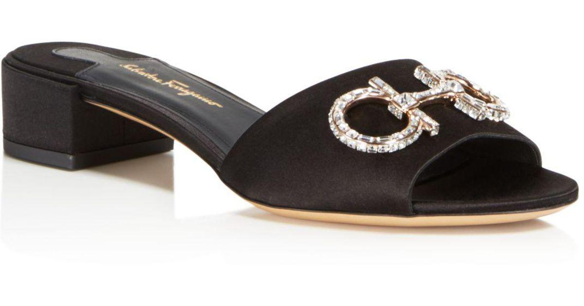 6fb60fa1888d Lyst - Ferragamo Lampio 30 Black Satin Sandals in Black