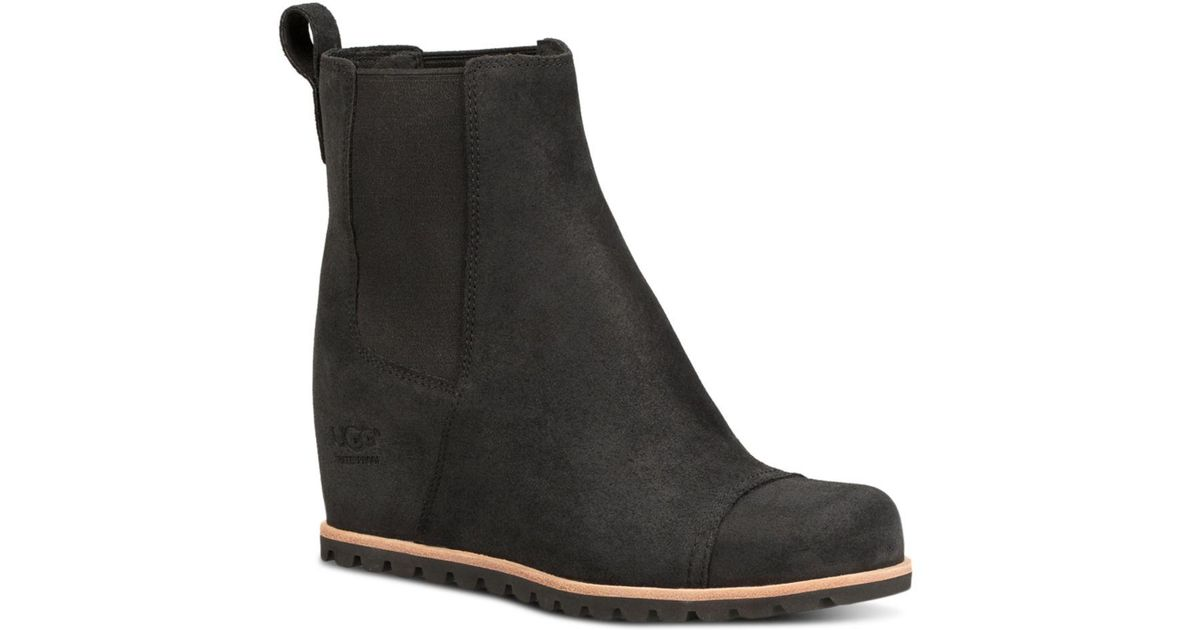 e24c9f6b1e0 Lyst - UGG Women s Pax Round Toe Leather Wedge Booties in Black
