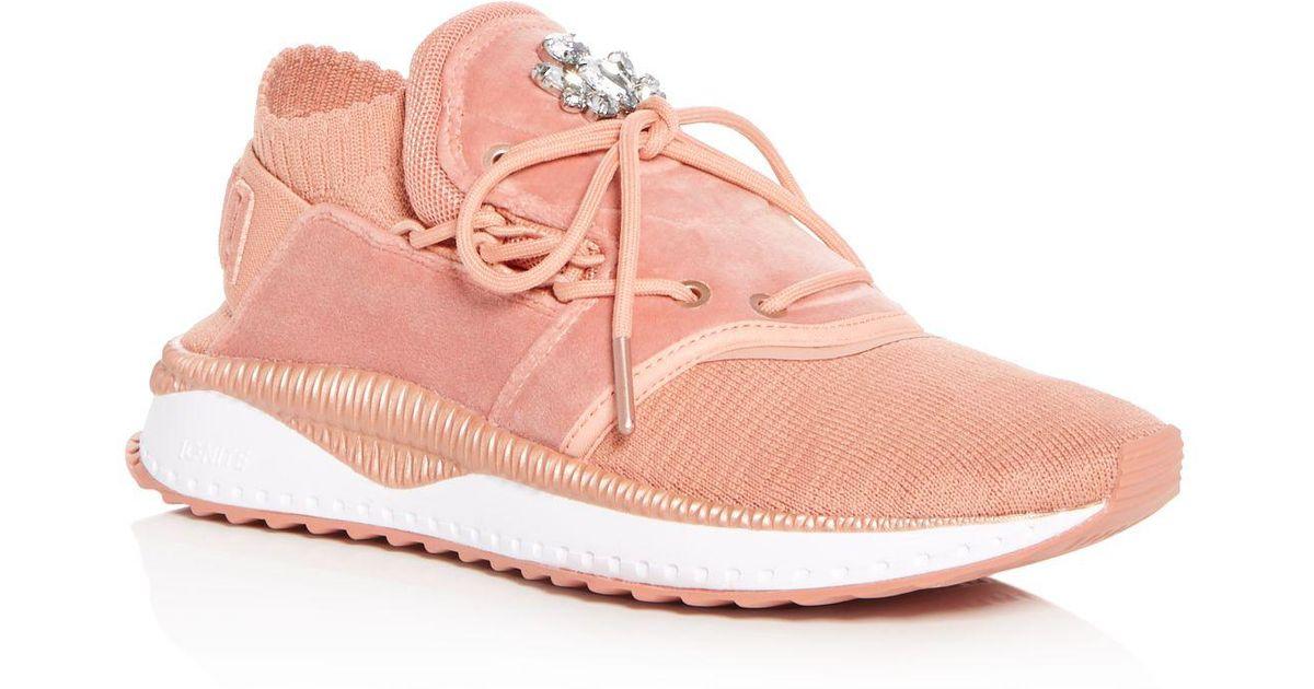 Lyst - PUMA Women s Tsugi Shinsei Velour Sneakers in Pink 8793fd170