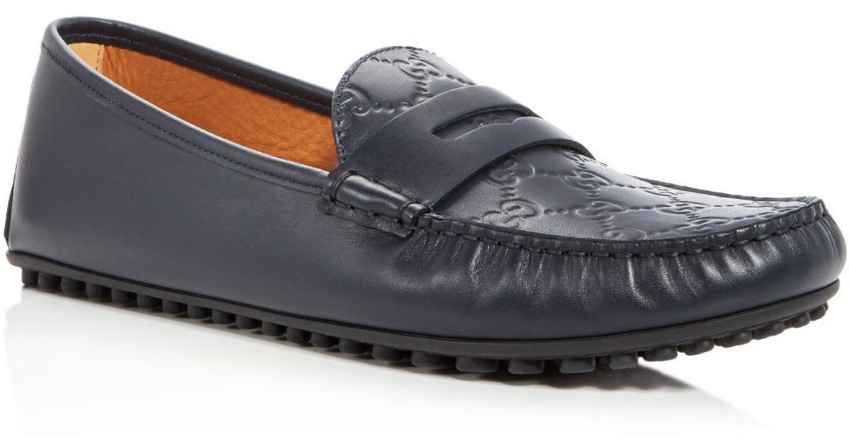 85167c3d1 Gucci Men's New Kanye Embossed Leather Loafers in Blue for Men - Lyst