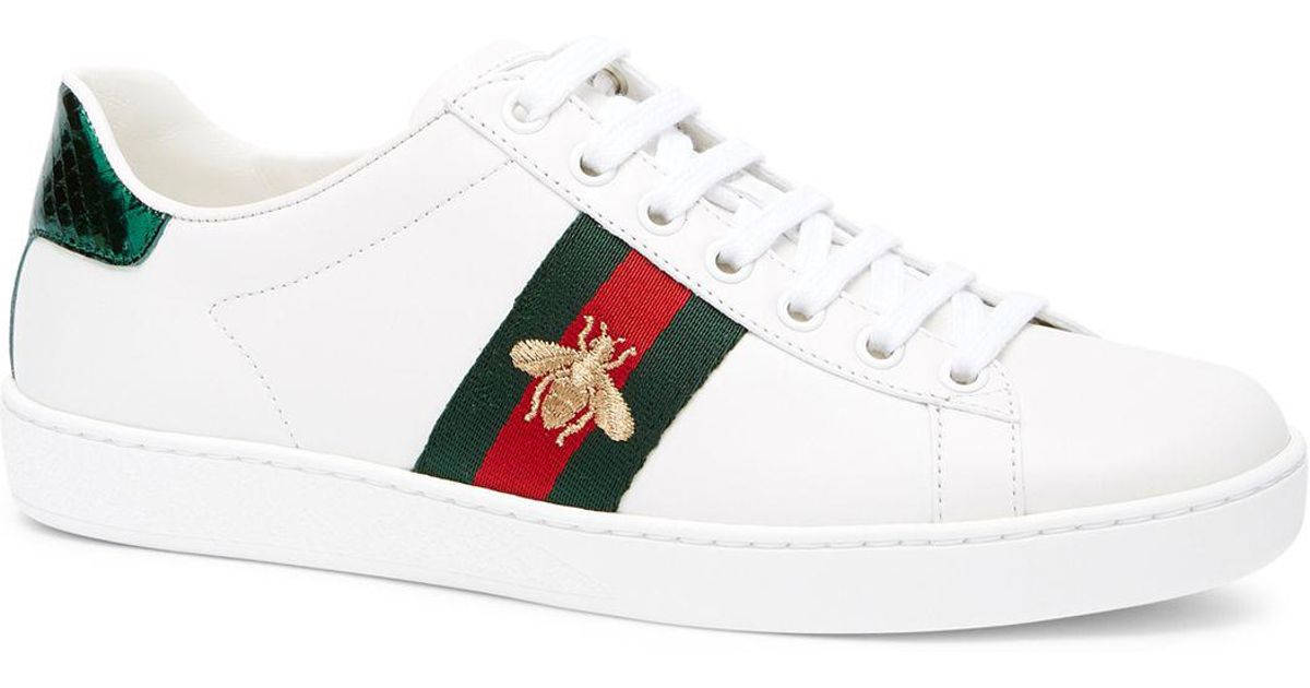 4fd2cc78c Gucci Women's New Ace Leather Lace Up Sneakers in White - Lyst