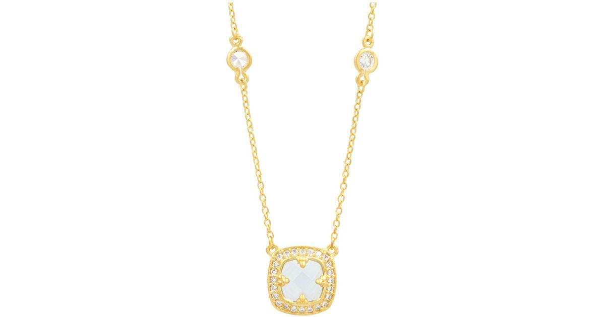 Freida Rothman Oval Pearlescent Pendant Necklace w/ CZ Crystals 0H2VinLP3I