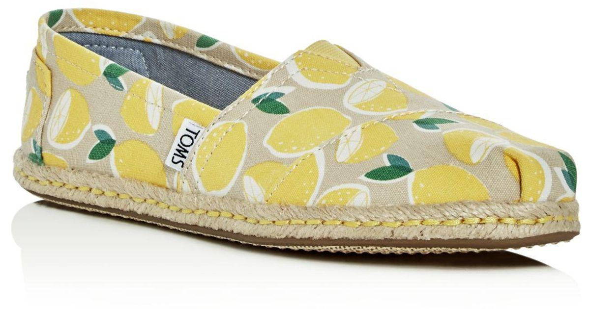 1416dbbc2ff Lyst - TOMS Women s Yellow Lemons Espadrille Flat in Yellow