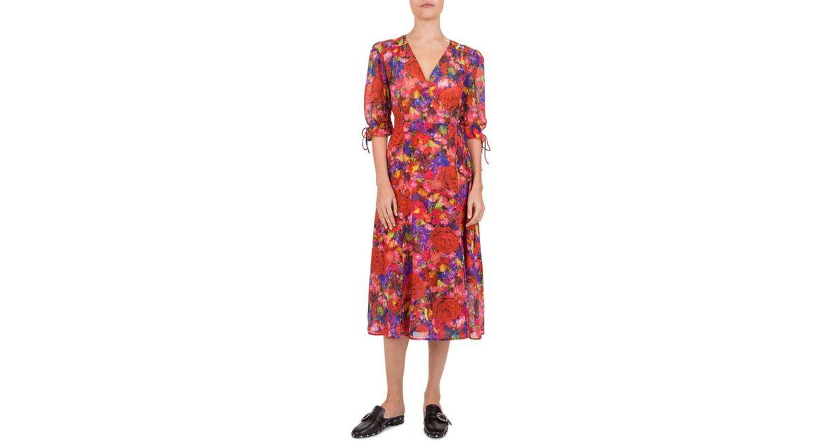 f5454b87d The Kooples Summer Night Floral - Print Silk Wrap Dress in Red - Lyst