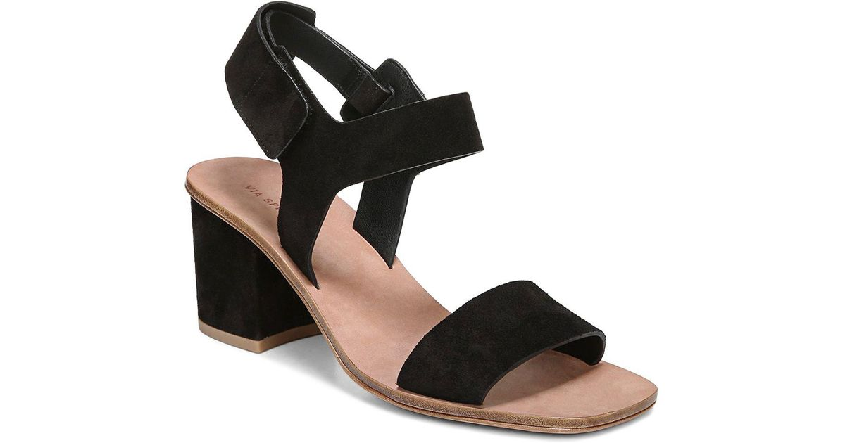 83082cb1b050 Via Spiga Women s Kamille Suede Block Heel Ankle Strap Sandals in Black -  Save 16.66666666666667% - Lyst
