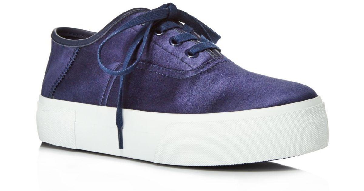 687326bbb51 Lyst - Vince Copley Satin Platform Lace Up Sneakers in Blue