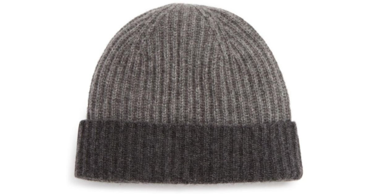 Lyst - Bloomingdale S Cashmere Color Block Cuff Hat in Gray for Men 371a0de69