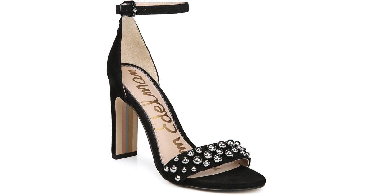 638bc9409ca98 Lyst - Sam Edelman Women s Yoshi Open Toe Studded Suede High-heel Sandals  in Black