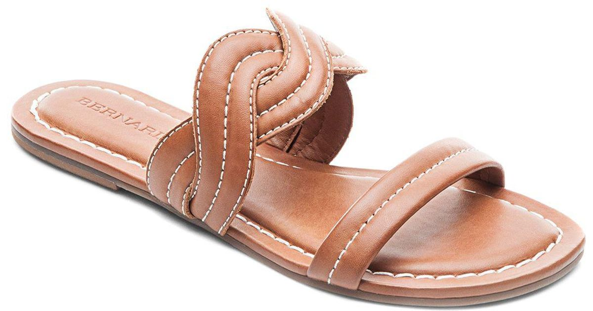 Bernardo Women's Leather Double Strap Slide Sandals qDaV5VH