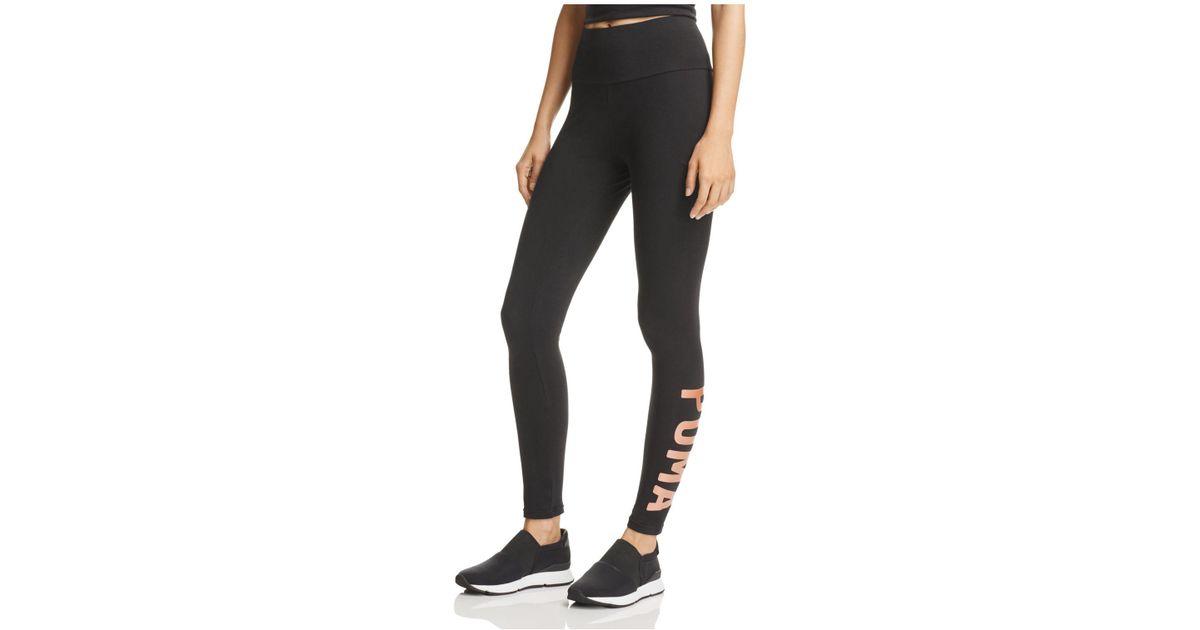 Lyst - Puma Logo Leggings in Black