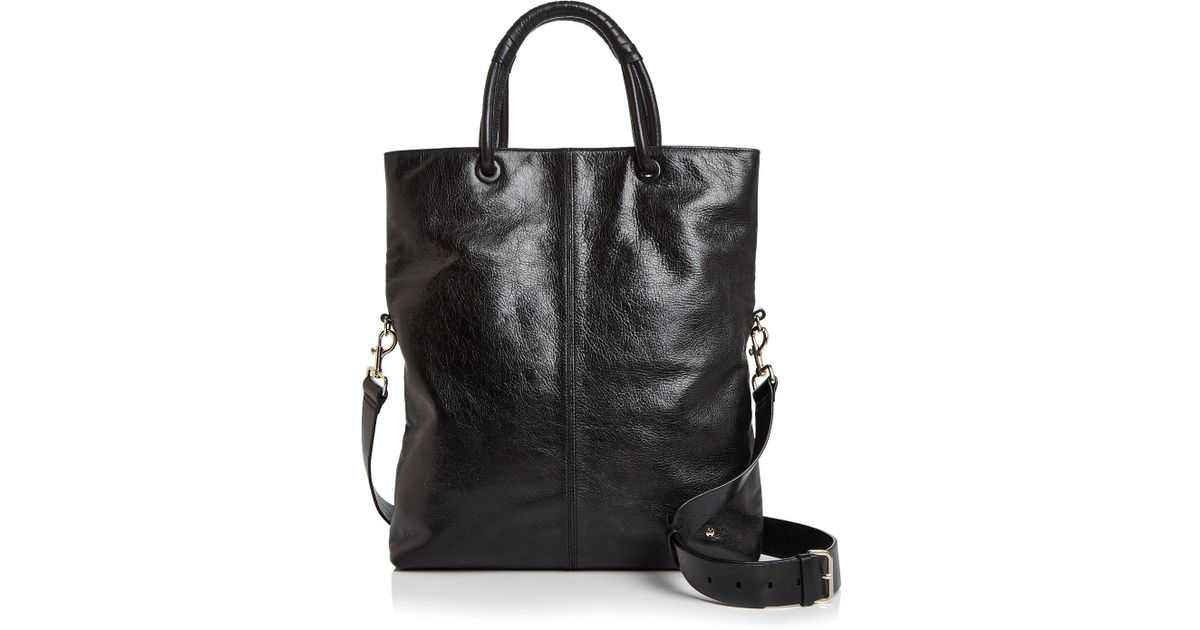 Halston Heritage Ali Foldover Large Leather Tote in Black - Lyst 7770c4d03769f