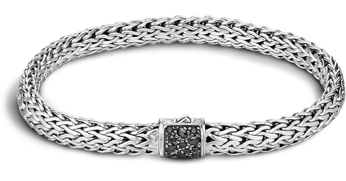 John Hardy Mens Classic Chain Rhodium-Plated Bracelet with Black Sapphire Rg2ScIB1
