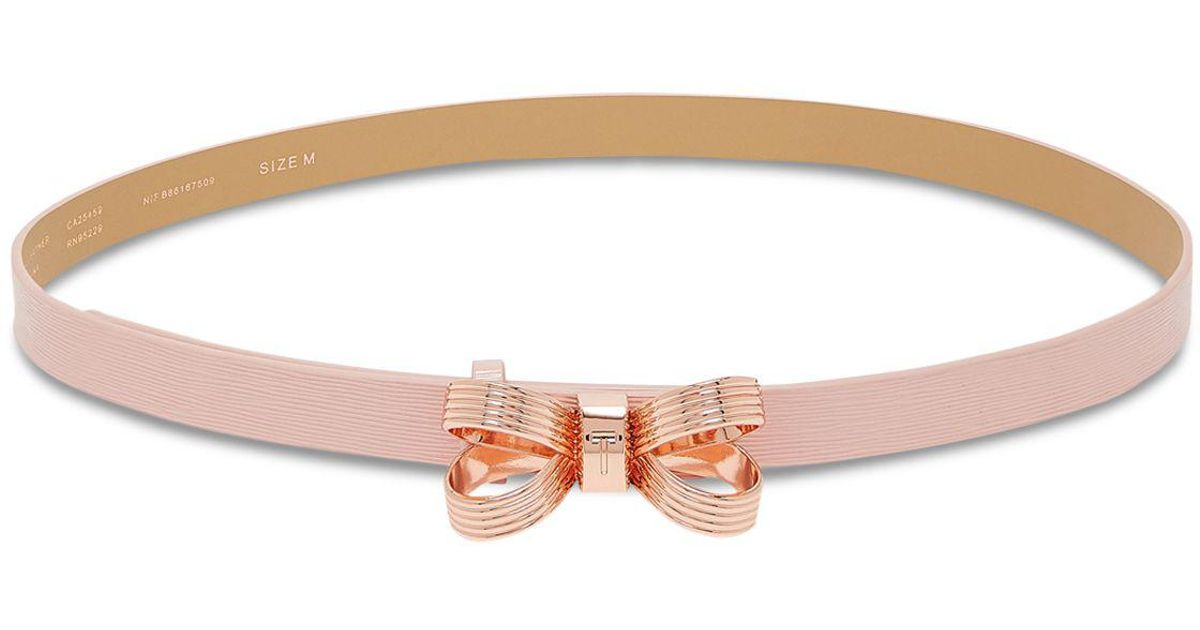 d6b0afc6f Lyst - Ted Baker Bowdi Looped Bow Leather Belt in Pink