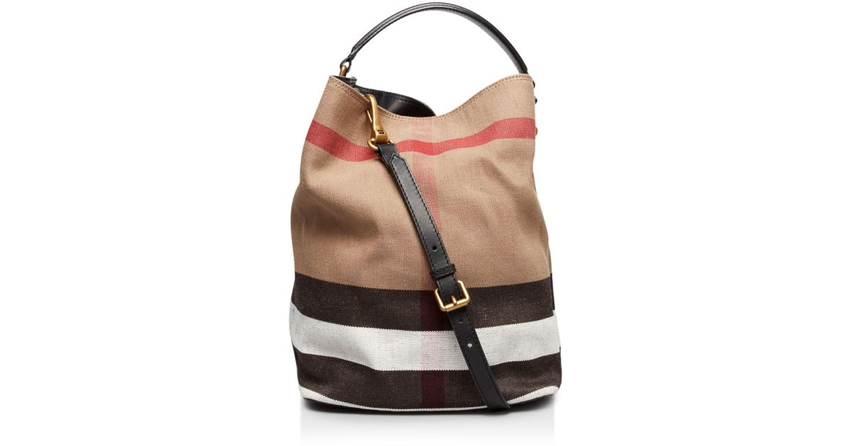 0cd2e5f75e47 Lyst - Burberry Canvas Check Medium Ashby Hobo