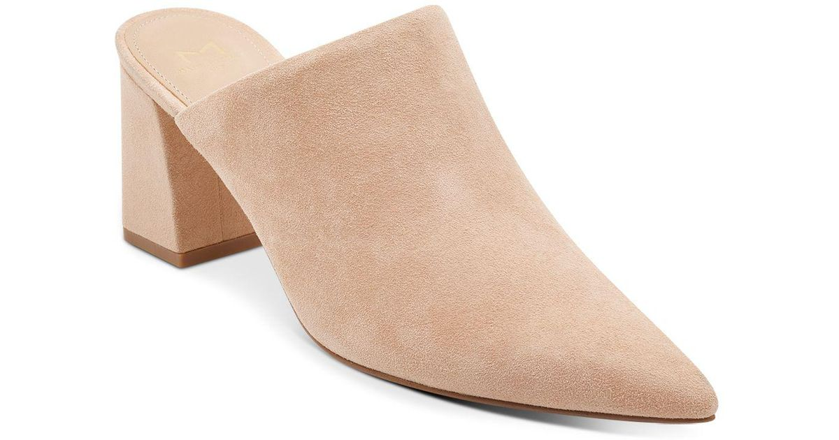 fb8a7d80a8b Lyst - Marc Fisher Women s Zivon Suede Pointed Toe Block Heel Mules in  Natural