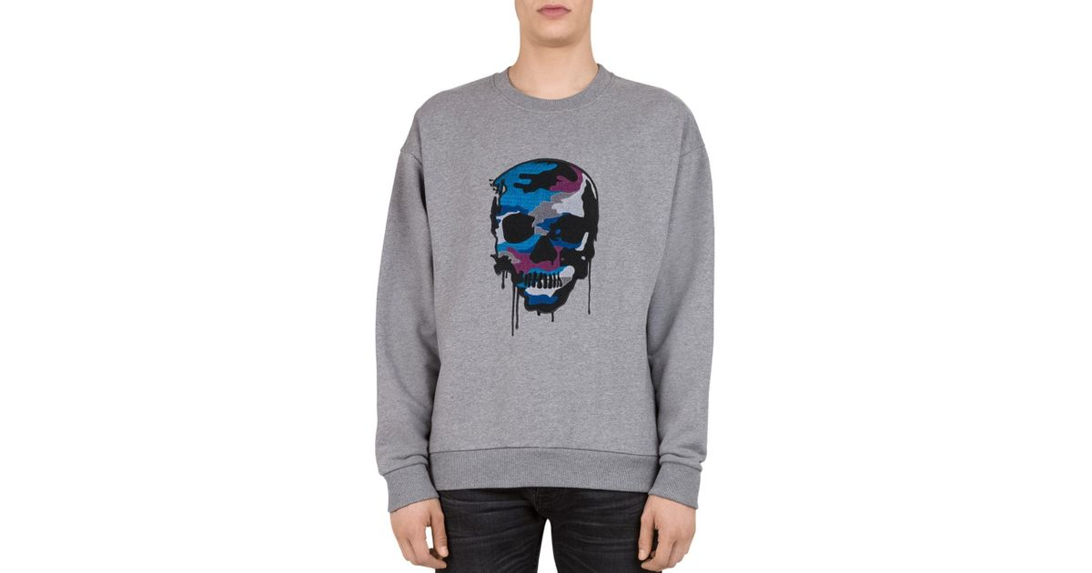 e72b399ac55 The Kooples Embroidered - Skull Sweatshirt in Gray for Men - Lyst