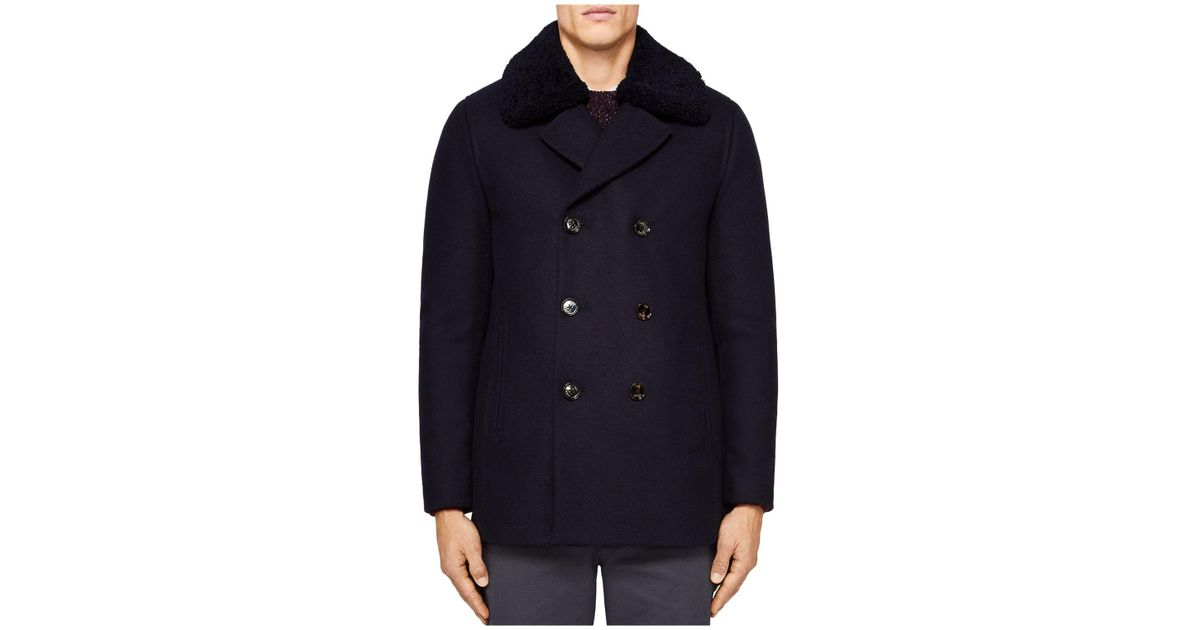 c7db3097c71a Lyst - Ted Baker Frost Wadded Wool Overcoat in Blue for Men