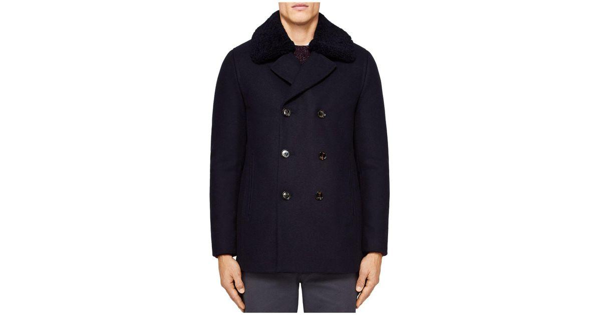 495f7bdb1 Lyst - Ted Baker Frost Wadded Wool Overcoat in Blue for Men