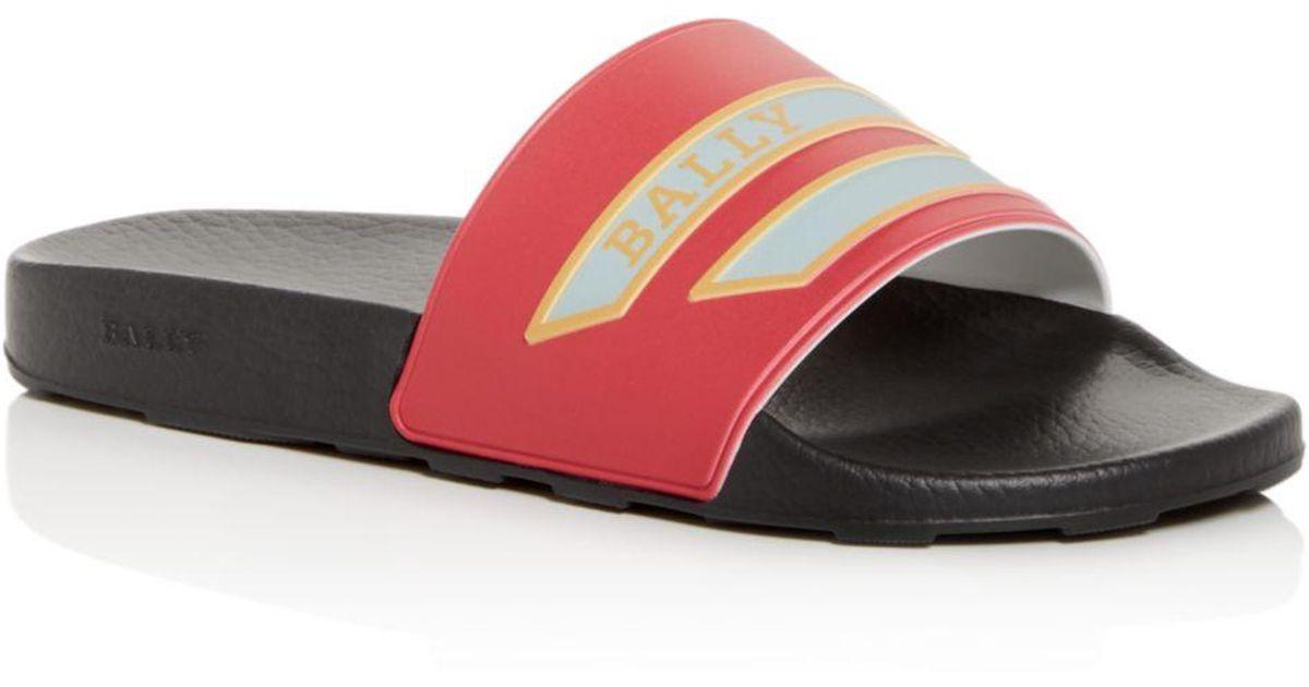 512cbec06 Bally Men s Slawing Slide Sandals in Red for Men - Lyst